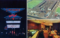 Sundowner Motor Hotel Albuquerque NM (Edge and corner wear) Tags: new sign electric bar vintage mexico drums restaurant hotel pc inn neon counter drum guitar stage postcard band motel 66 lodge musical chrome motor arrow kit nm bandstand instruments rioute