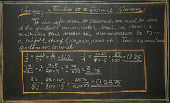 5th Grade: Math; Fractions: changing a fraction into a decimal number (ArneKaiser) Tags: 5thgrade autoimport edited mrkaisersclass pineforestschool waldorf waldorfjourney chalk chalkboard chalkdrawings fractions math flickr