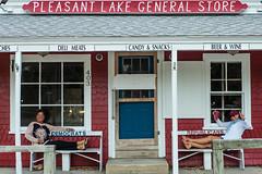 Pleasant Lake General Store (GmanViz) Tags: door windows color lumix store capecod panasonic porch storefront brewster benches democrats republicans lx7 pleasantlake gmanviz
