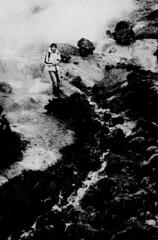 sous la cascade (asketoner) Tags: snow man water river walking island daylight waterfall iceland rocks hiking walk perspective hike steam isklandi