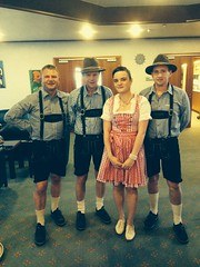 At The hotel reception with The guys in lederhosen!