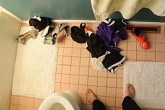 Post-Game (2sonik) Tags: game feet socks foot shoes uniform die post mit mark soccer dirty clothes laundry barefoot barefeet shorts adi adidas dem drei streifen cleats postgame dassler diemarkmitdemdreistreifen