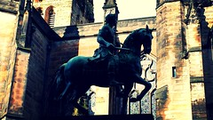Close up of statue of Charles II outside St Giles' High Kirk of Edinburgh next to the Royal Mile, formerly a cathedral. (jzrctdzb17) Tags: history st statue scotland edinburgh united kingdom charles ii restoration british giles scotshistory