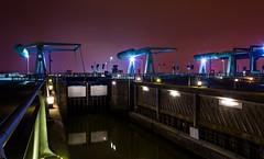Cardiff Barrage lock (technodean2000) Tags: city uk white black colour wales night landscape nikon lock south cardiff capitol penarth barrage lightroom photoscape d5200