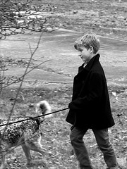 Henry with Jasper (thatSandygirl) Tags: portrait boy dog blackandwhite outdoor walking winter coat peacoat spring pet