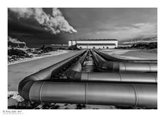 The power of Iceland (jerry_lake) Tags: 6thmarch2017 bw d750 geosourcepowersatation iceland iceland2017 nikon1424mmf28 cameraa energy pipes silverefexpro2 steamtrain vapour