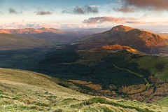 Looking south towards Moel Hebog and the Moelwynion from Mynydd Drws y Coed on a November evening (Nick Livesey Mountain Images) Tags: