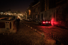 Zone rouge... (Gilderic Photography) Tags: liege belgium belgique belgie red street rue night nuit dark car mystery city panasonic lumix lx100 gilderic