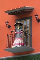 Outside window art  Fifth Ave Playa Del Carmen (a56jewell) Tags: a56jewell mexico shop door window orange skeliton