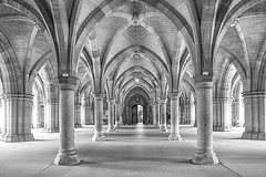 Cloisters At Glasgow University (Brian Travelling) Tags: mono monochrome blackandwhite pillars doorway door architecture architectural arch arches university glasgowuniversity glasgow pentaxkr pentax pentaxdal