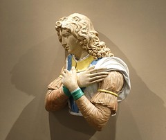 """""""Adoring Angel"""" (c. 1510-1515) by Luca Della Robbia the Younger (Florence, 1475-1548). Partially glazed terracotta with traces of paint (lhboudreau) Tags: nationalgalleryofart terracotta sculpture statue dellarobbia glazedterracotta lucadellarobbia lucadellarobbiatheyounger dellarobbiastudios adoringangel angel art artwork sixteenthcentury 1500s partiallyglazed florence florentine religious renaissance italianrenaissance dellarobbiastudio tinglazed robbia workshop"""