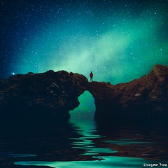 Listen; there's a hell of a good (gusdiaz) Tags: photoshop photomanipulation digital art northern lights reflection mountain rocks hiker man water stars sky epic hermoso naturaleza arte cielo estrellas luces norte montañas rocas fantastico