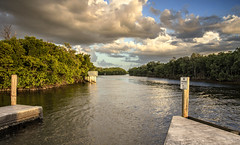 Ponce De Leon Historical Park Canal (SteveFrazierPhotography.com) Tags: poncedeleon historicalpark puntagorda florida fl charlottecounty peaceriver charlotteharbor canal water waves reflections clouds docks mangroves shore shoreline roots sunset evening stevefrazierphotography landscape waterscape canoneos60d beautiful peaceful boatramp
