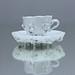 Meissen, Teeservice, Teeset, Teekanne, Teetasse, Mokkatasse, Moccatasse, Milchkännchen, weiss, plastische Blüten, Blumen, tea pot, creamer
