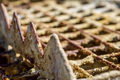 M (primemundo) Tags: rust rusty grout groutflowcone groutmachine triangles squares dof