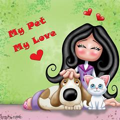 My pet , my love !!! by Myria-Moon (Myria-Moon) Tags: myriamoon aimemoi cute chibi mignon pet animaux kawaii colorful coloré illustrationenfantine children