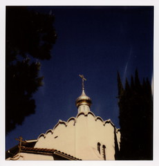 Russian Orthodox Church (tobysx70) Tags: the impossible project polaroid slr680 frankenroid sx70 door rollers color film for 600 type cameras beta 30 3 0217 pioneer member test impossaroid protection of holy virgin russian orthodox church argyle avenue hollywood los angeles la california ca suppedaneum cross gold onion dome cyprus tree blue sky toby hancock photography