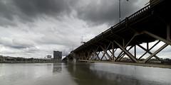 Morrison Bridge, Willamette River, Portland Oregon (Kayaker Bill) Tags: portlandoregon spring2017 downtown sonya7r rokinon15mm28lens cherryblossoms bridges people pacificnorthwest oregon willametteriver