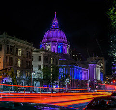 city hall from larch street (pbo31) Tags: sanfrancisco nikon d810 color spring boury pbo31 city 2017 california night dark black lightstream traffic roadway motion vannessavenue civiccenter cathedralhill red cityhall dome purple march infinity larch