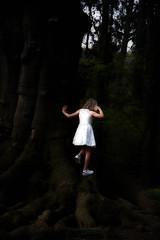 Girl in big dark forest (Jochem.Herremans) Tags: jungle communie lonely nature brussels young plantentuin holy trees belgium girl blackandwhite tree brussel forest dark communion bw meise big teen blackwhite white nikon sigma