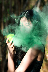 Enchantress; Spell (elysiayard) Tags: embodiment witch sorceress enchantress magic spell sleep haze lightroom photography woodland girl female woman mother nature canon70d offering eat apple poisoned green evil