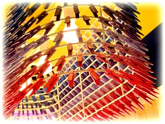 Distrito Clothespin Lamp, detail (milomingo) Tags: saguarohotel scottsdale arizona southwest getaway rnr resort dining hospitality diningroom decor motif colorful multicolored lamp wood wooden wire clothespin lightbulb lightfixture row geometry line indoor photoborder design closeup lighting