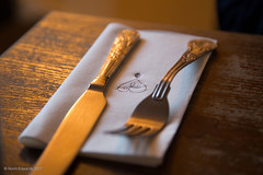 Love food (norm.edwards) Tags: colour cutlery dinner golden serving table fork knife heart love detail