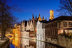 Bruges Canal at Night (Barry O Carroll Photography) Tags: canal water reflection buildings spires bridge belfry beffroi townhall belltower bruges brugge belgium belgique night bluehour cityscape urbanlandscape citylights travel architecture longexposure