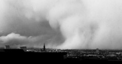 """""""Snowstorm over my Hometown"""" (helmet13) Tags: d800e raw bw ulmminster weather snowstorm clouds city april theelements aoi heartaward peaceaward 100faves world100f"""