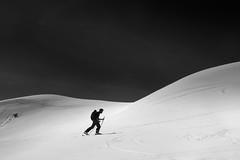 Up, skiing to the summit! (Gael Varoquaux) Tags: ski skitouring mountains climbing monochrome blackandwhite