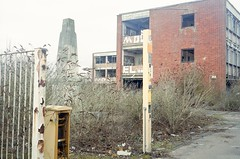 (danny.rowton) Tags: mediumformat 120 film rangefinder 6x9 portra 400 analogue analog industrial derelict rubble cenotaph warmemorial graffiti tag overgrown