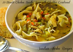 Sandra's Alaska Recipes: CHICKEN NOODLE SOUP with CHEDDAR CORNBREAD recipe... (sandrasalaskarecipesphotographyretail) Tags: chicken 30 alaska cheese turkey bread soup stew photo corn image pic poultry noodle recipes cornbread muffin cheddar minute sandras