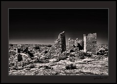Hovenweep 2007 (the Gallopping Geezer '4.8' million + views....) Tags: bw white house black building abandoned home stone sepia canon ruins village desert decay culture structure historic nativeamerican faded worn weathered derelict decayed geezer americanindian 2007 corel dwelling hovenweep lackwhite west07925