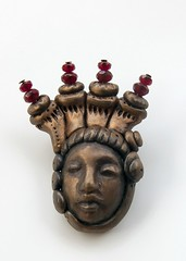 bronze face with red bead crown (SelenaAnne) Tags: face beads handmade polymerclay cernit premo polyclay