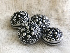 black silver studded beads (SelenaAnne) Tags: black silver beads handmade polymerclay hollow cernit premo polyclay