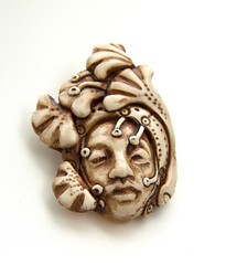 swoopy leaf face pendant (SelenaAnne) Tags: face beads handmade polymerclay cernit premo polyclay fauxivory fauxbone