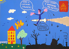 Il Capitano Frasca. (tonitonim) Tags: sky sun house black art nature plane painting soldier casa war paint sardinia arte blu military cielo missile draw fiori sole bomb avion farfalla bombe warior loby aeri