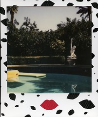 lemon grove beyond the marble figurine (Cutspark) Tags: pool statue polaroid sx70 palmsprings lemongrove impossible luluguinness