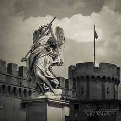 Angel (Andrea Rapisarda) Tags: blackandwhite bw italy rome roma angel square nikon italia bn castelsangelo angelo d800 bienne a ©allrightsreserved