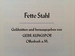 Fette Stahl by Hans Kühne (frankrolf) Tags: type:designer=hanskühne type:foundry=klingspor type:face=fettestahl type:face=stahl