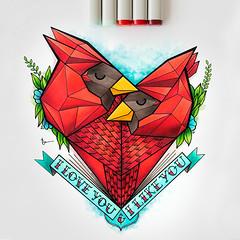 Cardinal Drawing Tattoo