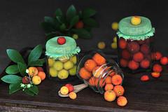 Des confitures en devenir....... (Hélène Quintaine) Tags: orange fleur fruit composition jaune automne rouge feuille baie confiture arbouse arbousier arbreàfraise octobte ceéation