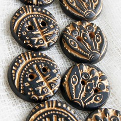 two button designs closeup (SelenaAnne) Tags: black handmade buttons polymerclay cernit premo polyclay