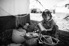 Life scene from a refugees camp in Iraq (Giulio Magnifico) Tags: life girl smile children alone child power emotion expression candid refugee refugees iraq young streetphotography desperate catch essence gaze powerful washing christians erbil kurdistan reportage genuine yazidi photoreportage refugeescamp nikond800e sigma35mmf14dghsm