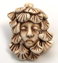 fan leaf face (SelenaAnne) Tags: face handmade polymerclay bead pendant cernit premo fauxivory fauxbone