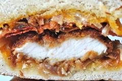 Pretzel Roll Chicken Sandwich (mhaithaca) Tags: food chicken bacon sandwich cheddar caramelizedonions pretzelroll cornelldining