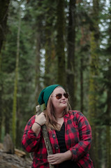 Nikki || Sequoia National Park (JessicaHume.) Tags: california travel camping autumn trees red portrait woman green fall nature colors forest nationalpark hiking roadtrip september flannel traveling wilderness sequoianationalpark eaglespeak