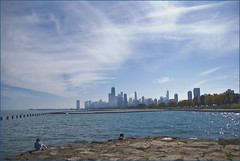 View of Downtown Chicago (IL) from Fullerton Avenue and Lake Shore Drive September 2014 (Ron Cogswell) Tags: lakemichigan chicagoil roncogswell chicagoilskyline chicagoil2014 viewofchicagoilandlakemichiganfromfullertonandlakeshoredrive lakemichiganatchicagoil