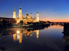 Basilica of Our Lady of the Pillar - Zaragoza - Spain (Lumatic) Tags: blue our sunset building church rio architecture lady pilar night del de dawn mirror catholic roman basilica pillar zaragoza hour aragon dust baroque nuestra seora catedra
