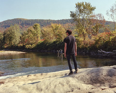 Jonny on the River (Patrick J. McCormack) Tags: portrait fall mamiya film analog river vermont kodak jonny rz67 ektar